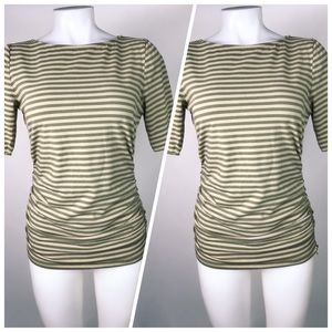 Michael Kors Ruched Tee With Zip Detail